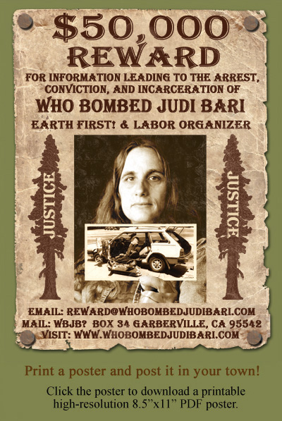 $50,000 Reward for Who Bombed Judi Bari? Poster